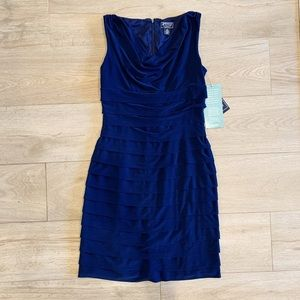 Cowl neck, pleated dress NWT